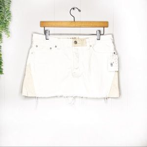 Free People | Frayed Hem Patch Skirt New 30